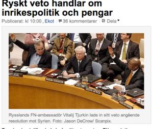 Krievijas vēstnieks Vitālijs Čurkins bloķē ANO balsojumu