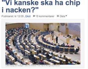 Zviedrijas parlaments. Attēls no Sveriges Radio.