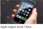 Sydsvenskan, Apple zaudē tirgu Ķīnā.
