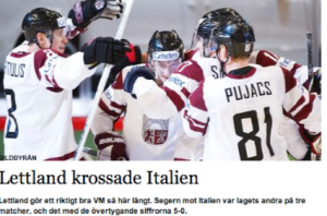 Latvija sagrāva Itāliju. PČ hokejā. Stokholma