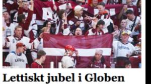 Latviešu līdzjutēju sajūsma Globena arēnā