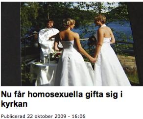 Zviedrijā homoseksuāli pāri var laulāties baznīcā kopš 2009. gada