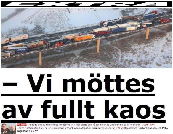 Autokatastrofa Skonē Zviedrijā 15. janvāris