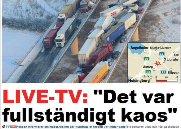vairāk nekā 100 auto sadursme šodien uz šosejas  Zviedrijā