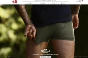 H&M vīriešu apakšbikšu reklāma ar Bekhemu