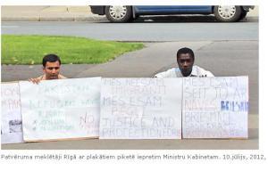 Bēgļu protests Rīgā TVNet foto