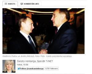 Putins un Berzins  TVNet  foto