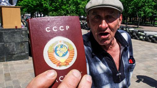 Šī persona ir pret Ukrainas neatkarību. Luganska, 10.maijs.