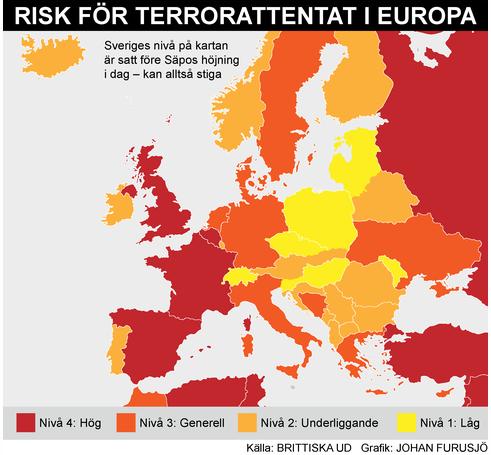 Terora riska līmenis dažādās Eiropas valstīs. Avots: Lielbritānijas Ārlietu ministrija
