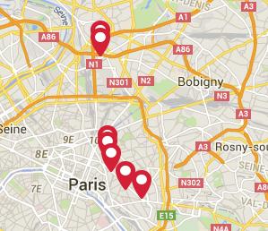 Parīzes karte ar teroristu uzbrukuma vietām 2015. gada 13. novembrī