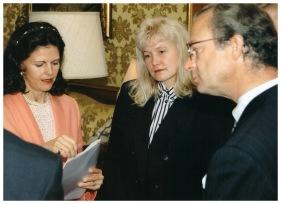 Sandra Veinberga sarunā ar Zviedrijas karali Kārli XVI Gustavu un karalieni Silviju