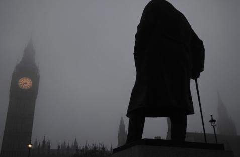 Vinstona Čērčila statuja Londonā |   Foto: REUTERS/Scanpix
