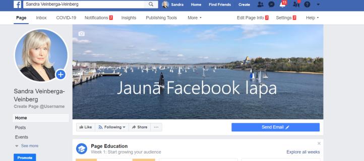 jaunā lapa facebook screenshot