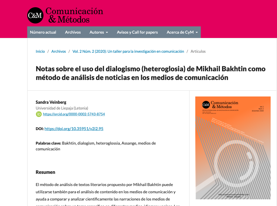 Some Notes on the Use of Mikhail Bakhtin's Dialogism (Heteroglossia) as a Method in Media Text Analysis
